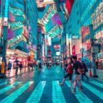 Neon lit streets in Akibahara, Tokyo