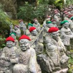 Buddha statues wearing red and green hats in Hiroshima