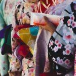 Several hues of kimono textiles