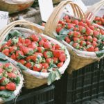Baskets of strawberries in Kamakura