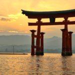 Tori gates in the water in Miyajima
