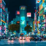 Neon lights on Tokyo street